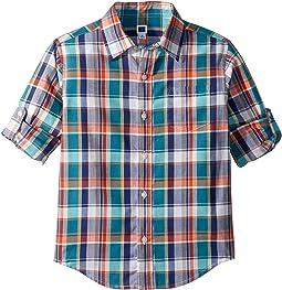 Roll Sleeve Button-Up Shirt (Toddler/Little Kids/Big Kids)