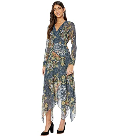 BCBGMAXAZRIA Day Long Dress (Midnight Teal/Nouveau Floral Scarf) Women