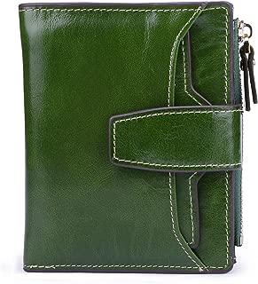AINIMOER Women's RFID Blocking Leather Small Compact Bi-fold Zipper Pocket Wallet Card Case Purse (Waxed Green)