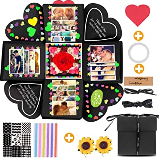 SMAtech Creative Explosion Gift Box,Love Memory DIY Handmade Photo Album Scrapbook, Photo Album Box, as Birthday Gift, Anniversary Gifts, Wedding or Valentine's Day Surprise Box (Black)