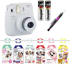 Fujifilm instax Mini 9 Camera Bundle with Airmail, Pink Lemonade, Stripe, Winnie The Pooh, Disney Mickey & Friends​, Rilakkuma, Quality Photo 2 in 1 Pen/Brush and Spray (Smokey White)
