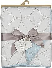 Living Textiles Cotton Poplin Comforter – White/Blue – Classic, Elegant Cotton Comforter, Lightweight and Soft Baby Comforter for Crib, Stroller & Tummy Time