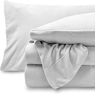 Bare Home Super Soft Fleece Sheet Set - Queen Size - Extra Plush Polar Fleece, Pill-Resistant Bed Sheets - All Season Cozy Warmth, Breathable & Hypoallergenic (Queen, White)