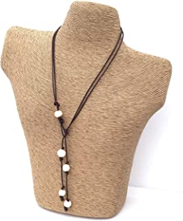 leather and pearl lariat necklace