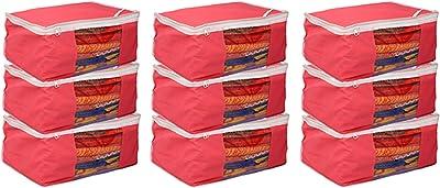 Kuber Industries™ Designer Non Woven Saree Cover Bag Set of 9 Pcs/Wardrobe Organiser/Regular Clothes Bag Pink-79