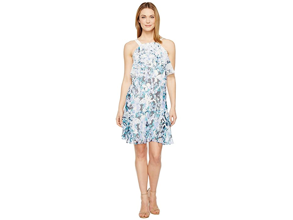 Adrianna Papell Floral Cascade Printed Chiffon Tiered Sleeveless Shift Dress (Blue Multi) Women