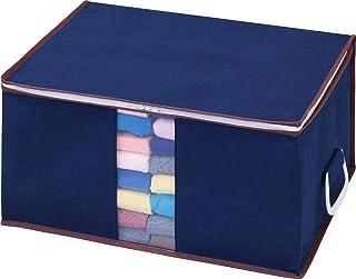 アストロ 収納ボックス 衣類用 ネイビー 不織布 持ち手付 618-43