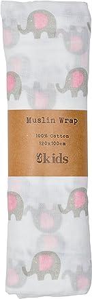 ES Kids Muslin Wrap Elephant, Pink