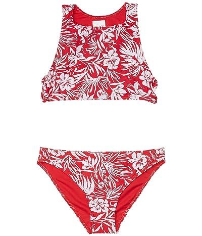 Roxy Kids Enjoying Waves Crop Top Swim Set (Big Kids) (Lipstick Red Island Cove) Girl