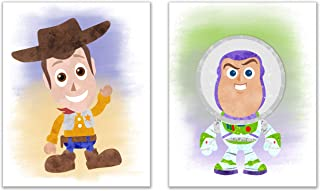 Toy Story Nursery Prints Set of 2 (8 inches x 10 inches) Baby Woody and Buzz Lightyear Wall Art Decor Photos