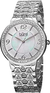 Burgi Women's Bur115Ss Swiss Quartz Crystal Accented Mother-Of-Pearl Guilloche Silver Bracelet Watch, Analog Display