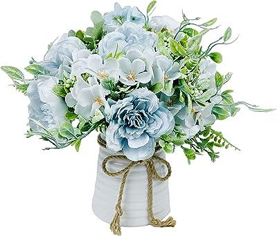 LADADA Flor artificial con jarrón, arreglos de flores de seda con jarrón de cerámica, centros de mesa para comedor, mesa de cocina, decoración - azul