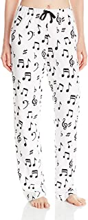 Image of Cotton Music Note Pajama Pants for Women