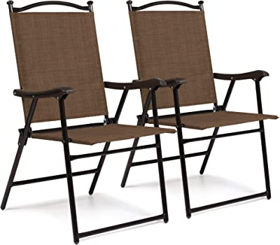 2 X FOLDING GARDEN CHAIRS  FABRIC SEAT//GARDEN//CAMPING