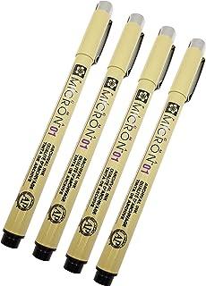 قلم أسود اللون 0.25 مم عرض الخط حزمة من 4 قطع (01) من ساكورا بيغما