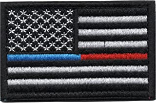 Tactical American Flag Patch Thin Blue & Red Line Embroidered Military Uniform Emblem with Hook and Loop