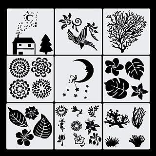 Haosell Pochoirs de dessin pour enfants - En plastique - Journal - Accessoires - Pochoirs - Lune - Fleur - Oiseau - Nature...