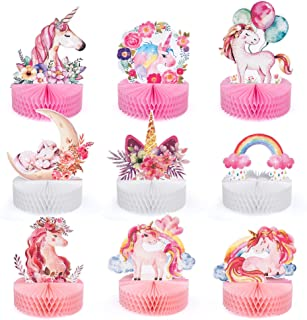 Mocoosy 9 Pieces Unicorn Party Honeycomb Centerpieces for Table Decorations, Rainbow Unicorn Birthday Party Center Pieces ...