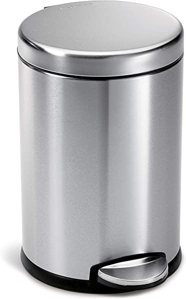 Simplehuman 4 5 Liter 1 2 Gallon Compact Stainless Steel Round Bathroom Trash Can Brushed Stainless Steel