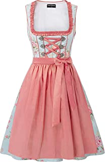 SCARLET DARKNESS Dirndl Damen Vintage Midi Trachtenkleid mit Dirndlschürze Retro Elegant Schaukelrock Trachtenmode Blumendesign für Oktoberfest S-2XL