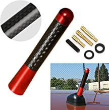 CK FORMULA (1x) Universal [Euro Red] 3.15in / 8cm Real Carbon Fiber Screw Type Short Stubby Vehicle Car Antenna Mast