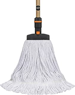 """SWOPT Cotton Mop –60"""" Premium Wood Handle –EVA Foam Comfort Grip Provides Comfort, Control, Efficiency –Mop Safe for Wood, Laminate or Tile –Handle Interchangeable with Other SWOPT Products"""