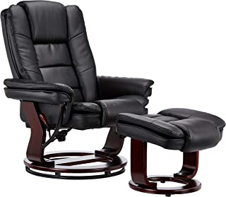 JC Home Contemporary Black Leather Recliner and Ottoman with Swiveling Mahogany Wood Base