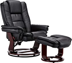 black recliner with footstool