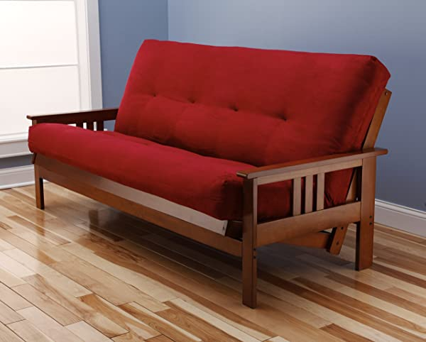 St Paul Furniture Toronto Futon Set Frame And Mattress Full Size Wood Finish W 8 Inch Innerspring Matt Includes Choice To Add Drawers Sofa Bed Couch Sleeper Frame And Matt Only Cherry