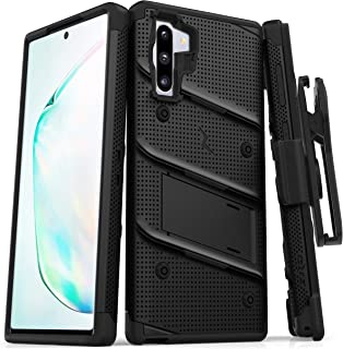 ZIZO Bolt Series Samsung Galaxy Note 10 Case   Heavy-Duty Military-Grade Drop Protection w/Kickstand Included Belt Clip Holster Lanyard (Black/Black)