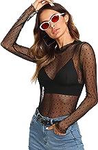 SOLY HUX Mujer Transparente Mangas Largas Camiseta Blusa Elegante Moda Oficina Casual
