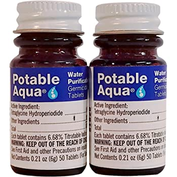 Potable Aqua Germicidal Water Purification Tablets - 50 Count Twin Pack