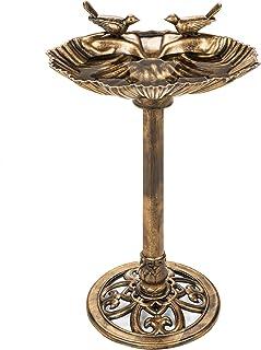 Best Choice Products Outdoor Pedestal Garden Bird Bath Decoration w/Sparrow Statues, Fleur-de-Lis Accents - Gold