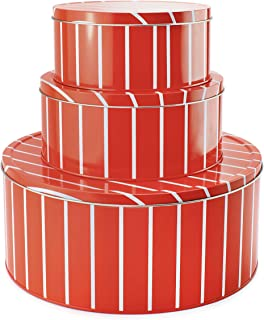Cornucopia Christmas Cookie Tins (Set of 3); Round Baking and Cake Tins for Holidays and Gifts, Nesting Set