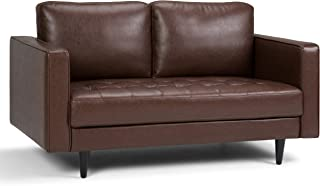 Simpli Home AXCBLN-02-CG Blaine Mid Century Modern 62 inch Wide Sofa Loveseat in Distressed Cognac Faux Air Leather
