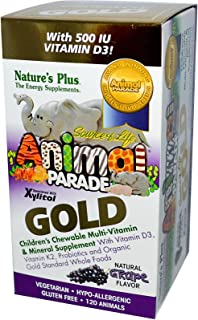 NaturesPlus Animal Parade Source of Life Gold Children's Multivitamin - Grape Flavor - 120 Chewable Animal Shaped Tablets ...