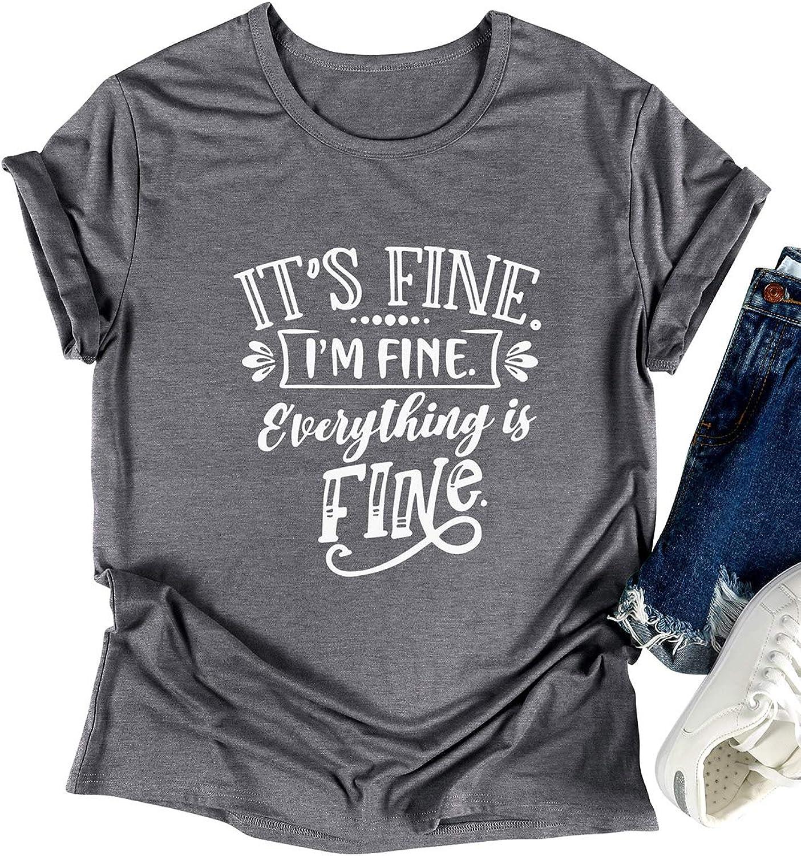 SLEITY Women It's Fine I'm Fine Everything is Fine Shirt Cute Sayings Short Sleeve Graphic Funny Tee Tops Sweatshirt