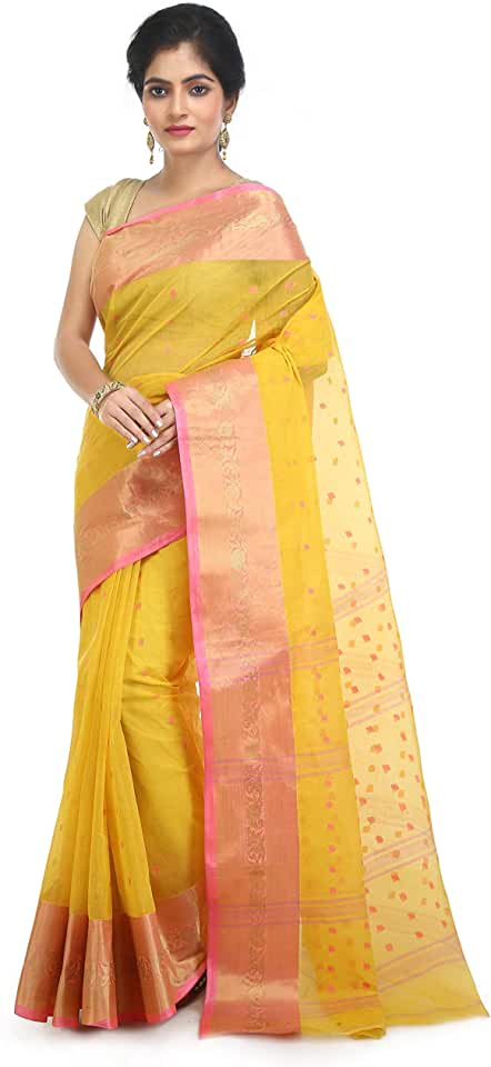 Indian WoodenTant Women's Pure Cotton Tant Saree In Yellow with Buti Work & Zari border Saree