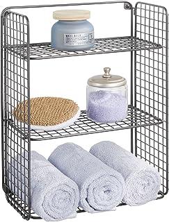 mDesign panier salle de bain pliable en métal avec 3 étages – corbeille de rangement à monter au mur – rangement salle de ...