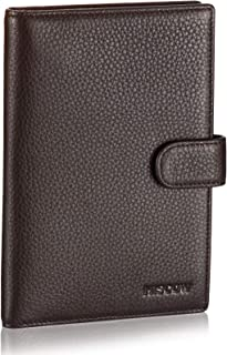 Italian Leather Passport Holder Cover Case Travel Wallet with 5 Credit Card Slots, Pebbled Coffee (Brown) - 11425_Pebbled Coffee