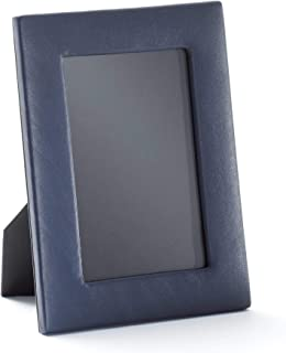 4X6 Portrait Photo Frame - Full Grain Leather - Navy (Blue)