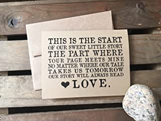 LOVE STORY - To your Husband or Wife - WEDDING Day - Note Card - Kraft Brown - RUSTIC - Recycled - Eco Friendly