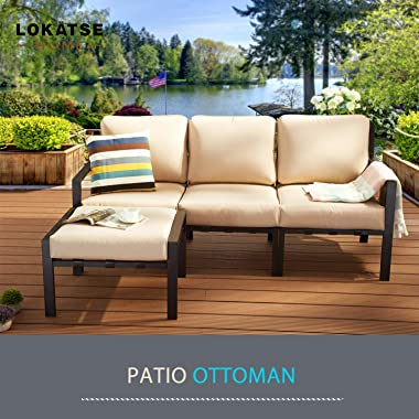LOKATSE HOME Outdoor Ottoman Patio Footstool Small Seat Furniture with Soft Thick Cushion for Garden Yard Deck Poolside, Beig