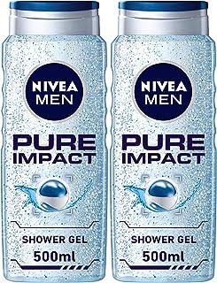 NIVEA MEN Pure Impact Shower Gel, Fresh Scent, 2 x 500 ml, 80893