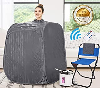 Himimi 2L Foldable Steam Sauna Portable Indoor Home Spa Weight Loss Detox with Chair Remote (Gray-New■)