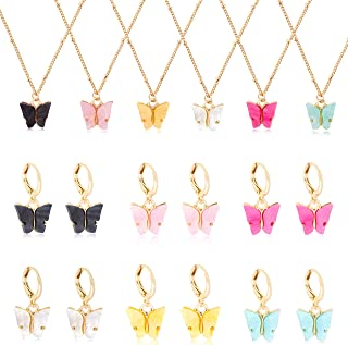 FIBO STEEL 6 Pairs Butterfly Earrings 6 Pcs Necklace Set for Women Colorful Acrylic Drop Earrings Cute Pendant Necklace Je...
