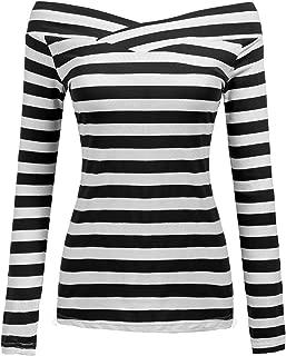 Zeagoo Damen Gestreiftes Shirt Schulterfrei Kurzarmshirt Off Shoulder Oberteil T-Shirt Streifen Tops
