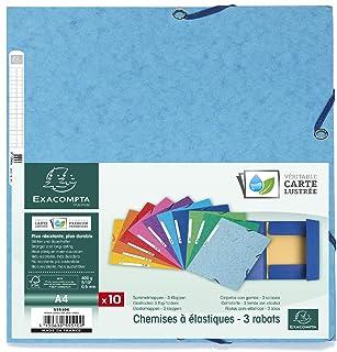 Exacompta - Réf. 55510E - Lot de 10 Chemises à Élastiques 3 Rabats Carte Lustrée 400g/m² - A4 - couleurs assorties