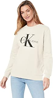 Calvin Klein Jeans Women's Monogram Logo Sweatshirt, Egret, M