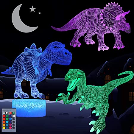 Dinosaur Night Light for Kids, VSATEN 3D Illusion Lamp 3-Pattern & 16 Colors Changing LED Dino Nightlight with Smart Touch & Remote Control, Dinosaur Gifts for Boys Girls Age 4 5 6+ Year Old